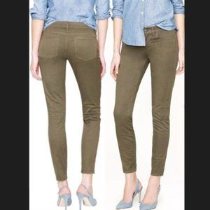 J. Crew Toothpick Skinny Ankle Corduroy 5 Pocket Jeans Pants Olive Army Green 26